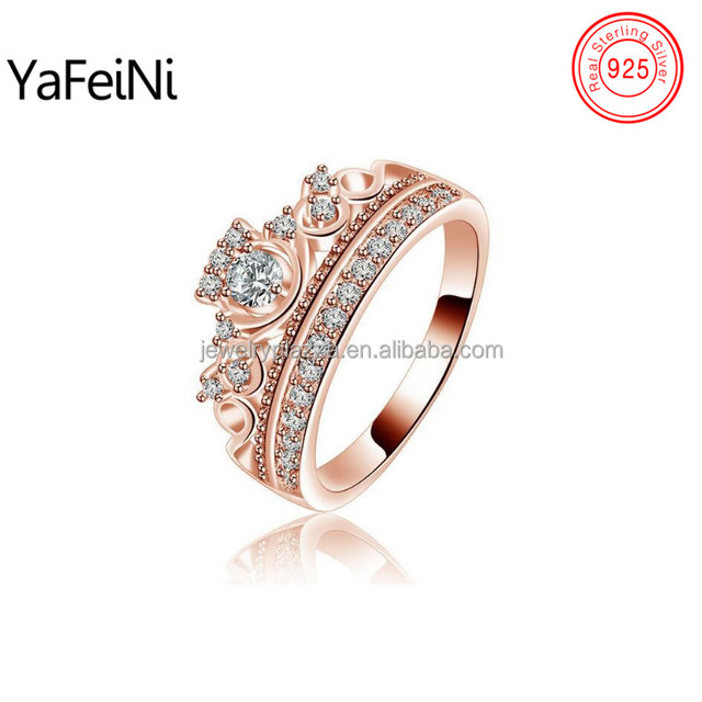 Bali Rose Gold Plated Queen Diamond Crown Engagement Ring 925