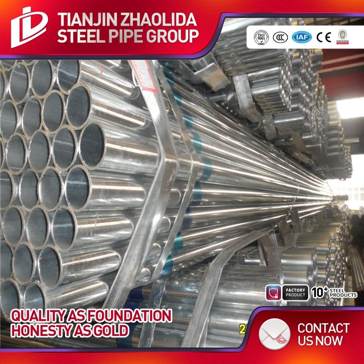 SCH 40 60 ERW BS1387 thin wall Pre-galvanized Steel Tube With Threaded with high quality