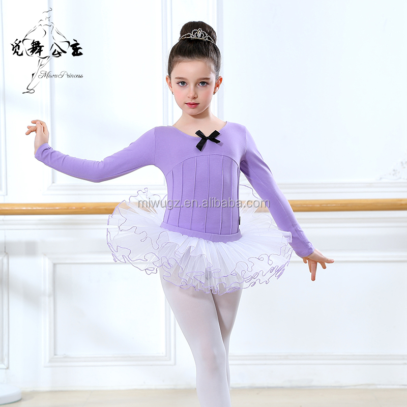 Long Sleeve Purple Cotton Spandex Ballet Dress For Teenagers