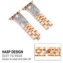 Роскошные Для женщин браслет для наручных часов из розового золота браслет ремешок для наручных часов Apple Watch, ремешок 42 мм/38 мм iwatch серии 3/2/1 ...(Китай)