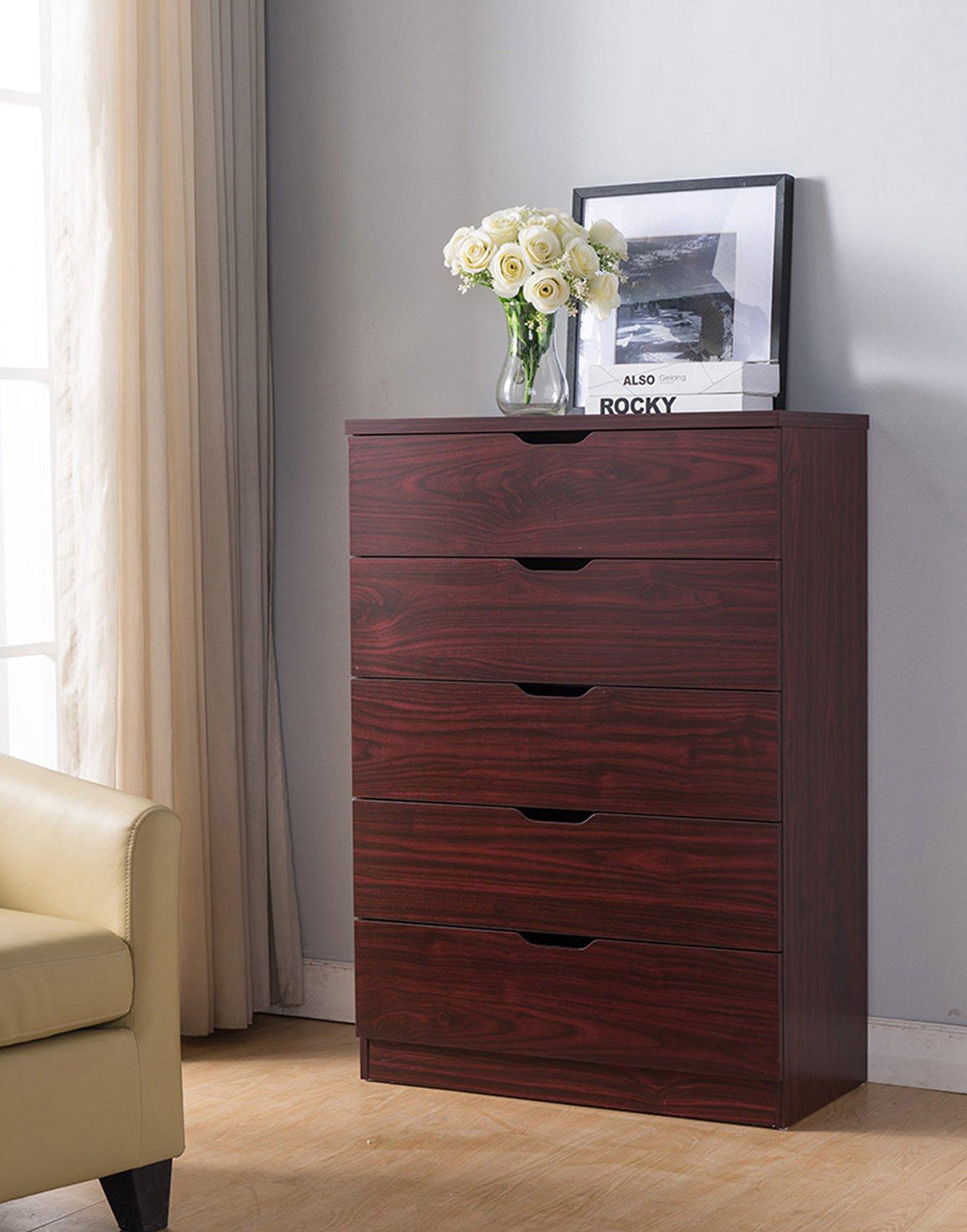 Smart home Eltra K Series 5 Drawers Chest Dresser (5 Drawers, Mahogany)