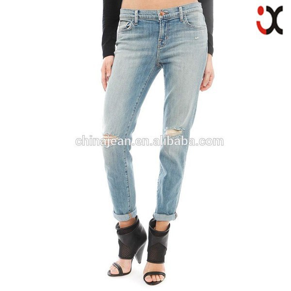 2015 Fashion hole jeans woman vintage loose scratched denim pants ripped jeans brand new boyfriend jeans (JXW093)