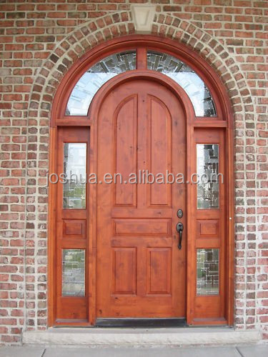 rustic solid wood round top exterior entry door residential front entry door with sidelite