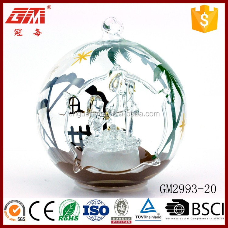 christmas ornaments open glass snow ball with led bauble