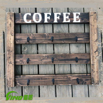 Coffee Cups Holder Wooden Mug Rack Wall Mounted Decorative Product