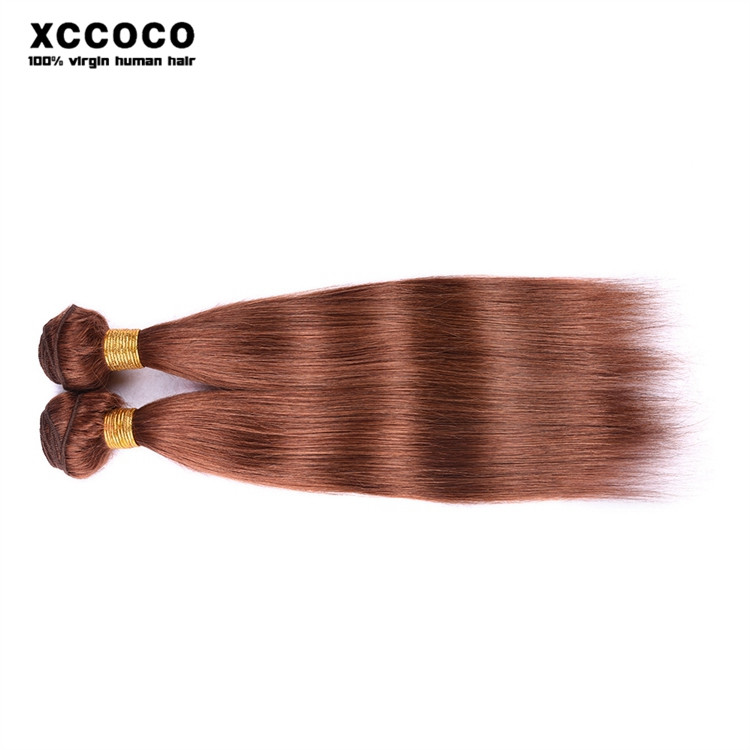Hot Sale Color 30# Straight Hair 100% Unprocessed Brazilian Brown Hair Weave
