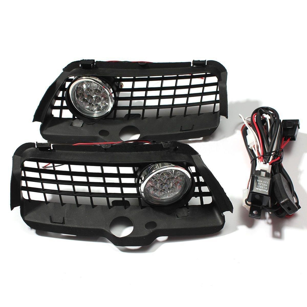 Sugeryy H3 55W LED Driving Fog Light Lamp Bulbs DRL Front Bumper Grille For VW MK3 Golf Jetta 92-98 1992-1998