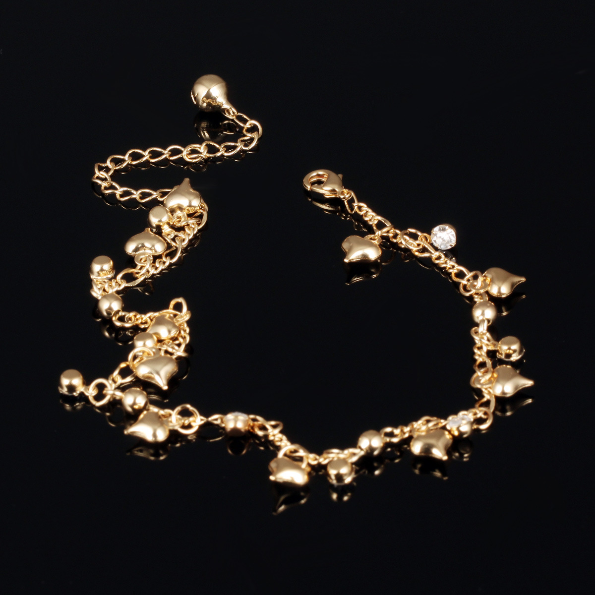 Fancy indian bell anklet heart charm chain anklets for women