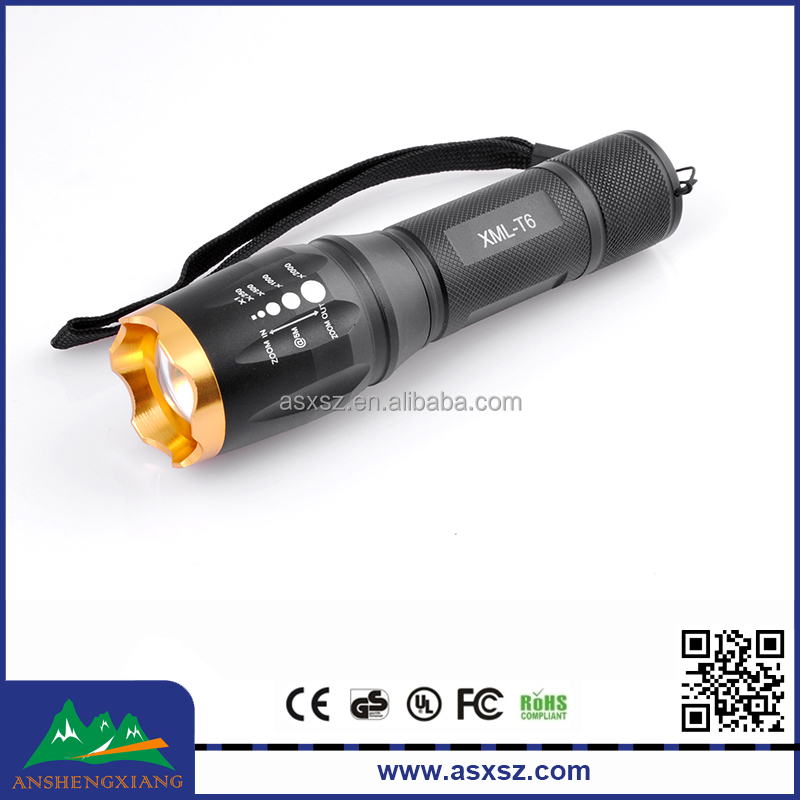 2016 Hot Selling Aluminium Alloy Flashlight Xml T6 LED