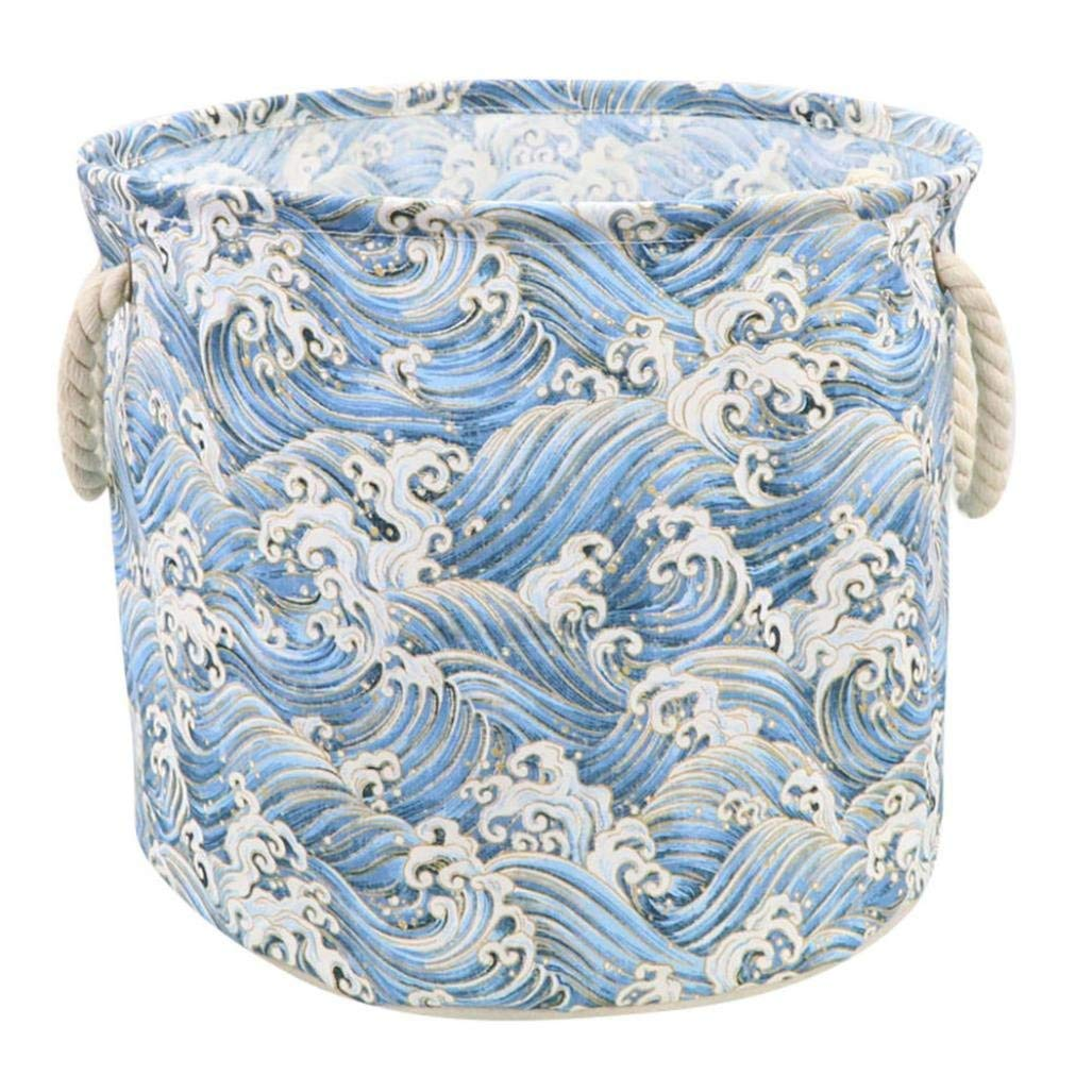 Storage Bucket, Sacow Waterproof Cotton Linen Laundry Clothes Storage Basket Dirty Clothes Toys Storage Box (B)