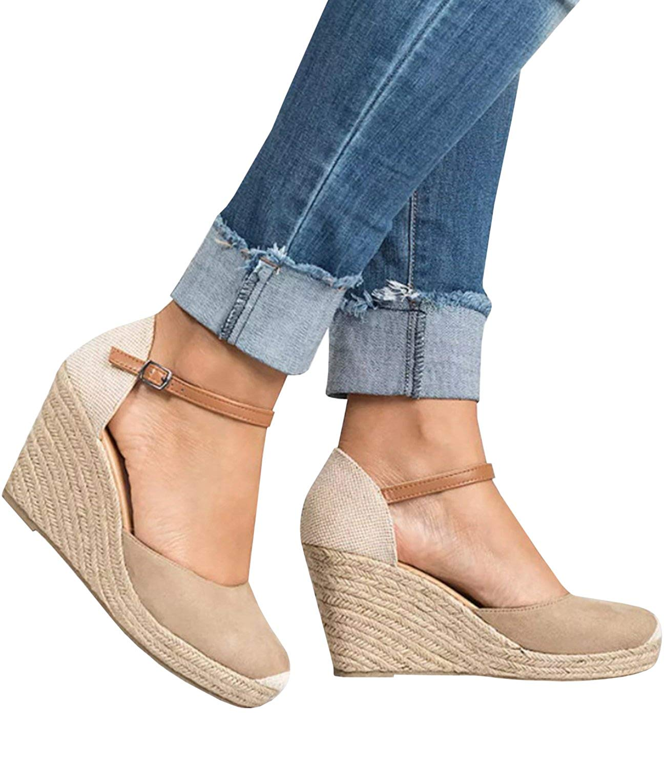 fd8a1b91dbb5 Get Quotations · Pxmoda Women s Boho Braided Wedge Sandals Casual T-Strap  Wedge Heel Sandal Shoes
