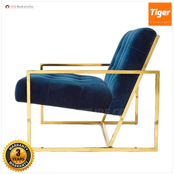 Chic Gold Finish Metal Legs Emerald Green Kube Chair