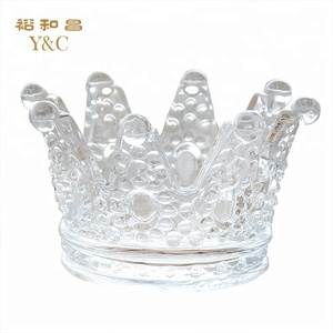 Glass candle holder crystal crown candle jar for table decorative centerpiece