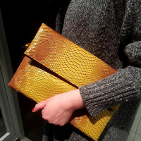 Luxury women embossed python leather fold-over party clutch with long chain strap custom hand bag for ladies