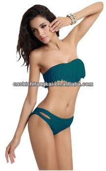 8f9599d562fdc Sexy Green Strapless Bikini Top  W Tassel + Bottom Padded Bra Swimsuit  Beachwear Bikini Bathing