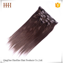 Hot selling natural color indian virgin remy 8 inch clip-in human hair extensions