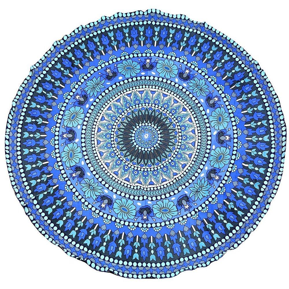 Tsumbay Beach Towel, Round Mandala Tapestry Hippie Mandala Roundies, Round Beach Throw, Yoga Mat, Picnic Mat, Table Cover, Wall Hanging - Blue