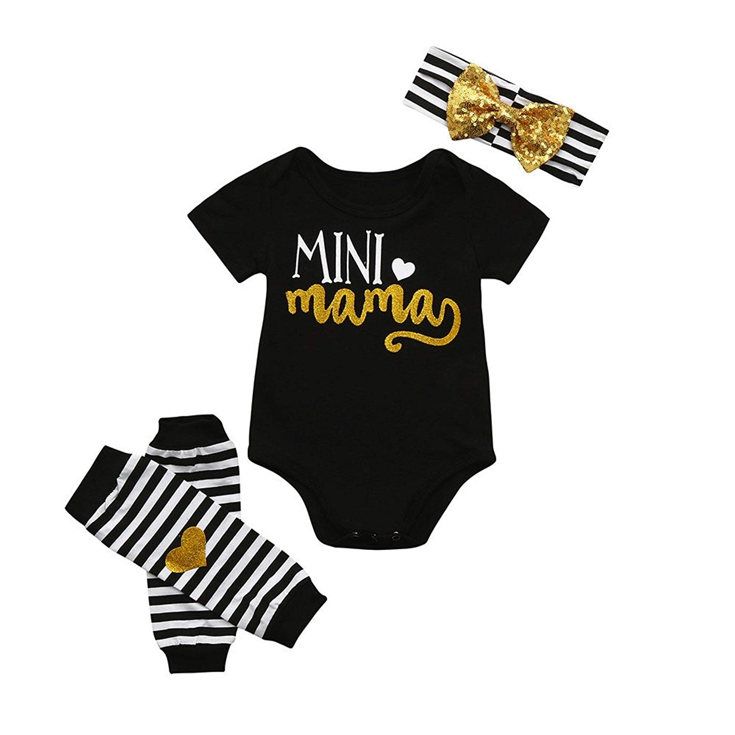 77960f1b2 Get Quotations · 3pcs Newborn Toddler Baby Boys Girls Letter Romper+ Leg  Warmers+Headband Halloween Autumn Outfit Set