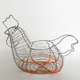 Chicken cock shape style red plastic coated metal wire fruit basket
