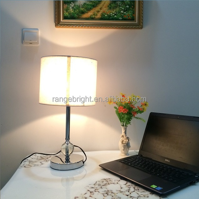 latest round brown fabric shade LED desk lamp