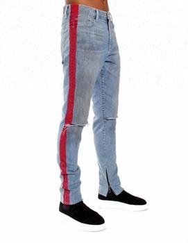 c62d5648dbfc24 Royal wolf denim garment factory vintage blue knee ripped ankle zip jeans  red stripe men fashion