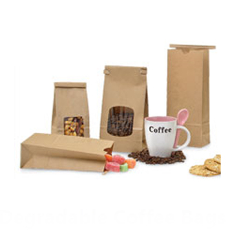 Tin tie biodegradable kraft paper coffee beans bag with clear window