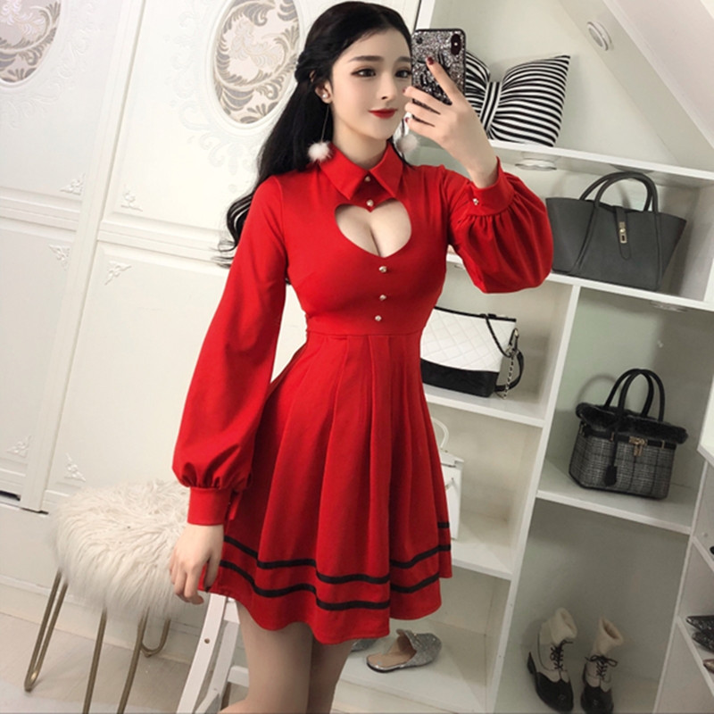 fed99bcdcd 2019 Sexy Pleated Red Dress 2018 Spring Sweet Cute Hollow Heart Slim ...