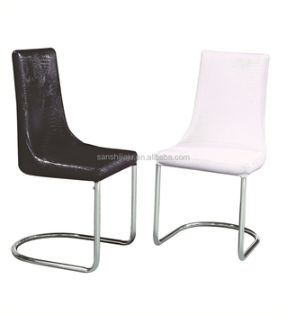 New Design Black Stackable Crocodile Leather Dining Chair
