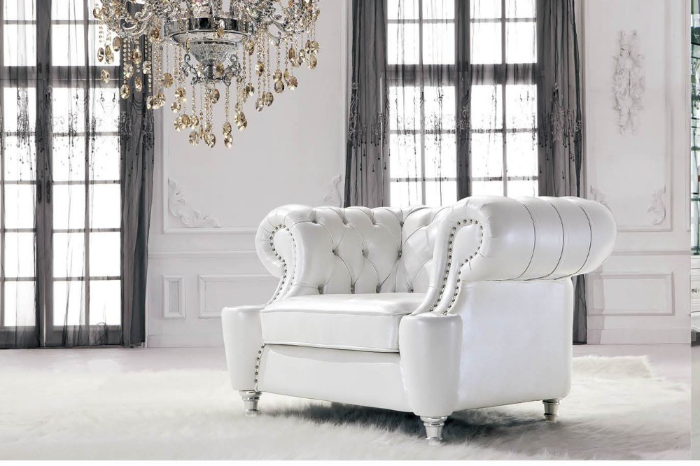 JR307B Classic Sofa With Soft Curves Chesterfield Modern White Sofa  Furniture