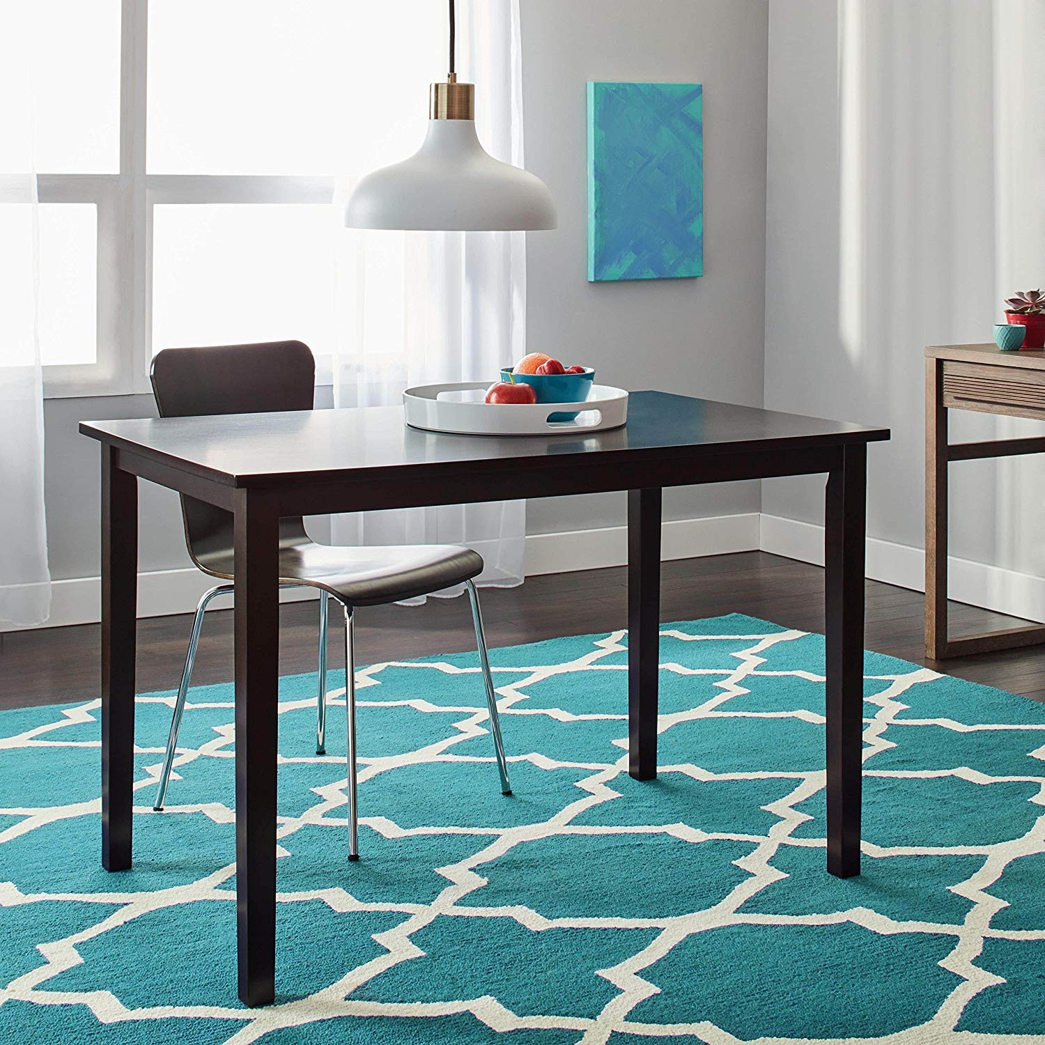 Contemporary Rectangle Dining Table, Functional, Constructed of Rubber Wood, Marked by Simplicity, Grace and Durability, Clean, Elegant Lines, Sturdy, Wide Surface Offers Ample Space, Espresso Finish