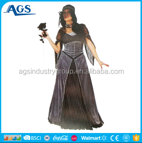 Sexy black witch costumes witch dress costumes black long dress costume