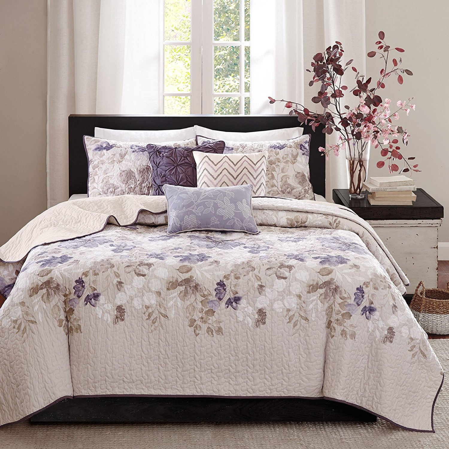 6 Piece Taupe Purple Floral Coverlet Set King/Cal King, Quilted Violet Lavender Flower Leaf Pattern Watercolor Print Bedding Accent Geometric Chevron Pillows Light Weight Medium Warmth, Polyester