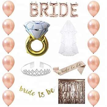 de1a129604d3b Easternhope Bridal Shower Decorations With Balloons Tiara Veil Sash Banner  Ring,Bachelorette Party Supplies Rose Gold Set - Buy