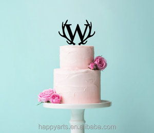 High Quality Wedding Cake Decoration Toppers Wholesale Wood Or Acrylic Letter Cake Topper Monogram In Glitter