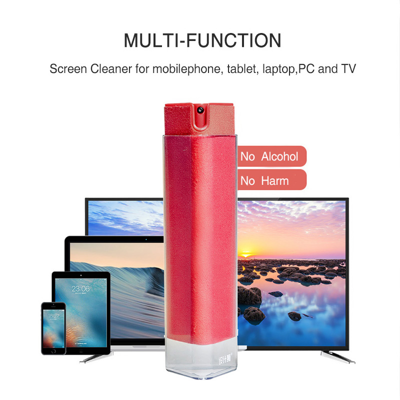 Custom 2 in 1 Microfiber LCD Touch Screen Cleaning Antibacterial Cell Phone Screen Cleaner Spray for Computer TV Mobile Laptop