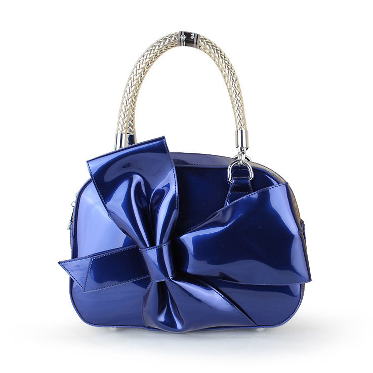 Get Quotations 2017 Bow Bag Evening Fashion Handbag Patent Leather Navy Blue Women S Anned