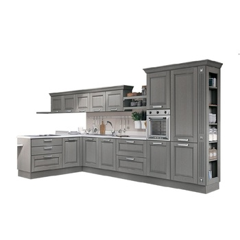 High Quality Grey Color Solid Wood Kitchen Cabinet With Free 3D Design View High Quality Solid Wood Kitchen Cabinet With Free 3D Design Saudichina