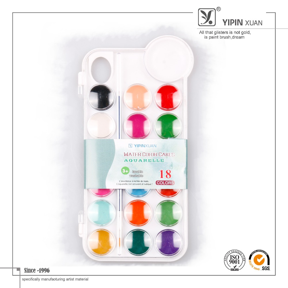 Professional 18 Colors Dry Water Color Paint Cakes With Brush