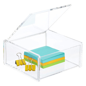 Waterproof Transparent Clear Acrylic Square Hinged-Lid Display Box
