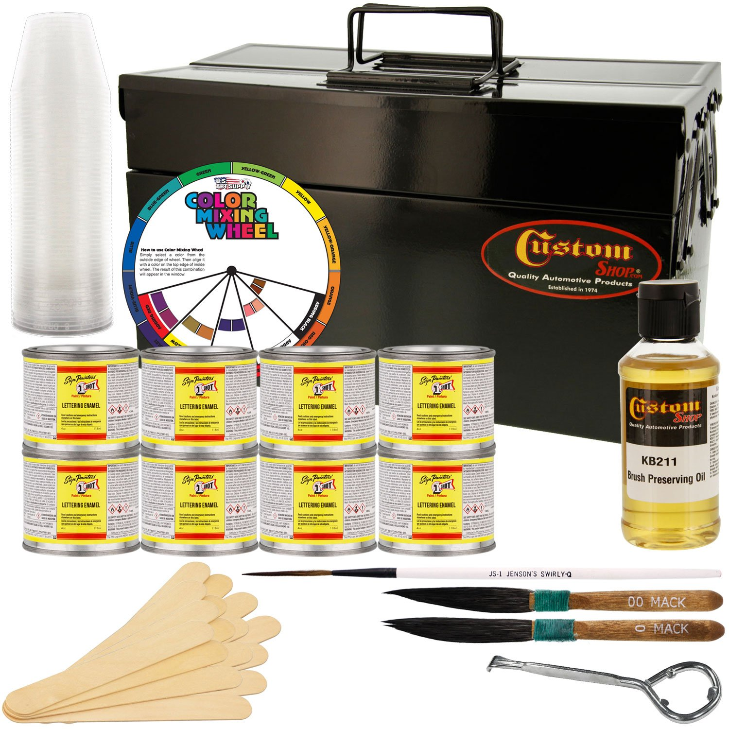 One Shot Automotive Complete Striper Pinstriping Starter Kit - 8 Colors