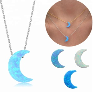 Popular Simple Design Necklace For Girls Silver 925 Moon Necklace Opal