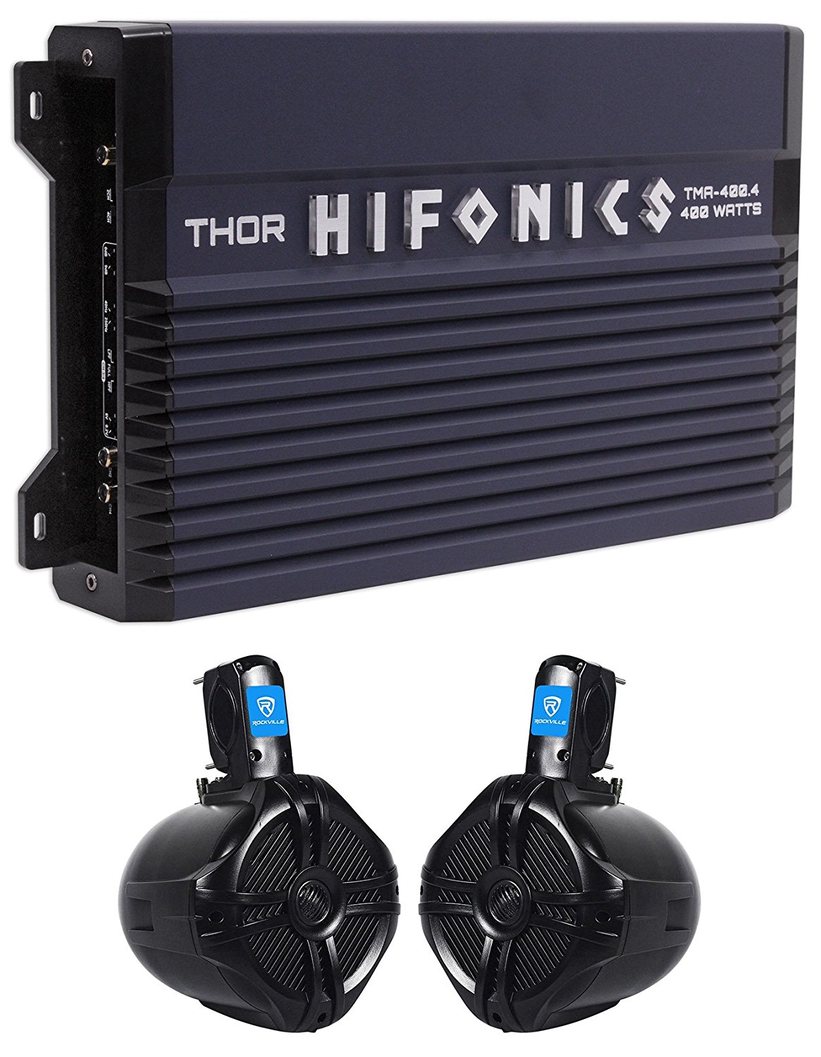 "Hifonics TMA-400.4 400w 4-Ch Marine Boat ATV Amplifier Amp+(2) 6.5"" Wakeboards"