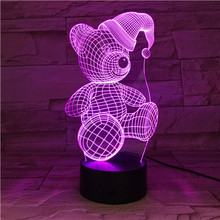3D Teddy Lamp Bedside Baby Night Light Touch Sensor 3D Light