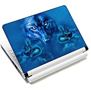 """Universal Size Laptop Notbook Decal Skin Sticker Protector Laptop Skin For 11.6"""" 12"""" 12.1"""" 12.2"""" 12.5"""" 13.3"""" 14"""" 15"""" 15.4"""" 15.6"""" inch Apple Mac Pro MacAir HP Asus Aser Toshiba Dell Sony Lenovo,Includes 2 Wrist Pads, Blue Wolf"""