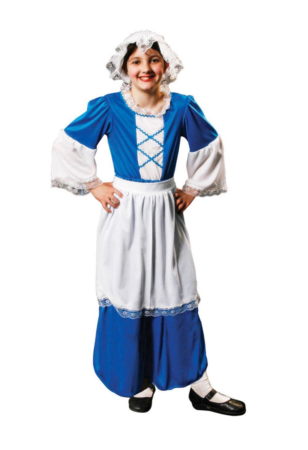 Girls Fancy Dress Girl's Tudor Costume Age 7-9 Blue