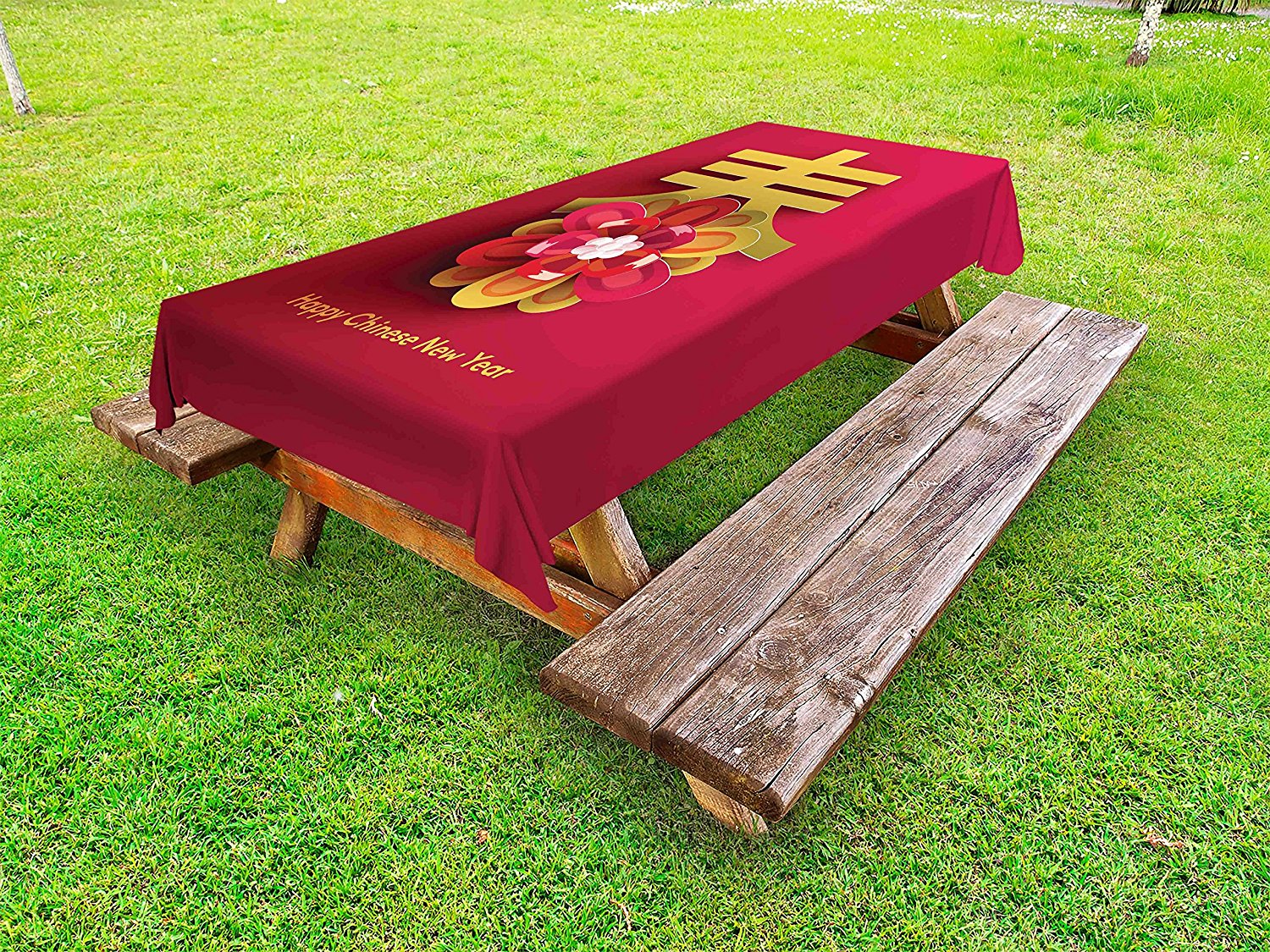 Ambesonne Chinese New Year Outdoor Tablecloth, Lunar Festival Theme with a Flower Motif and Chinese Letter on Pink, Decorative Washable Picnic Table Cloth, 58 X 84 Inches, Magenta and Gold