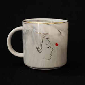 marble like mug Loving boy coffee cup gold edge