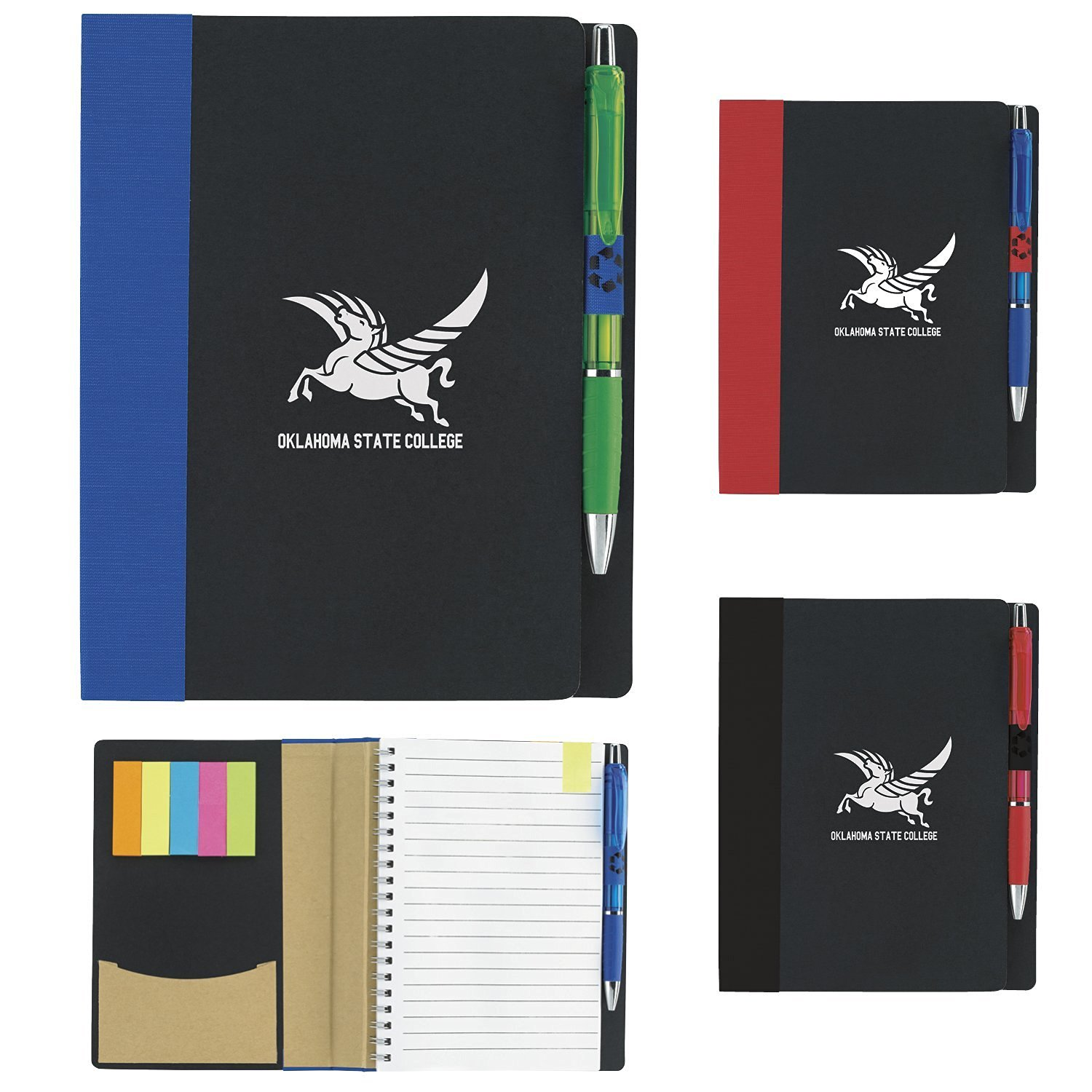 Eco Notebook w/ Flags - 100 Quantity - PROMOTIONAL PRODUCT / BULK / BRANDED with YOUR LOGO / CUSTOMIZED - Kineticpromos #15693 (Red)
