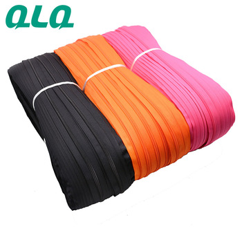 Factory Hot Wholesales QLQ 3# 5# 7# 8# 10# Nylon Long Chain Zipper, Zipper Roll with Gold/Silver Teeth.