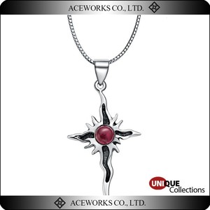 Bali Oxidized Sterling Silver Red Corundum Sun Cross Pendant